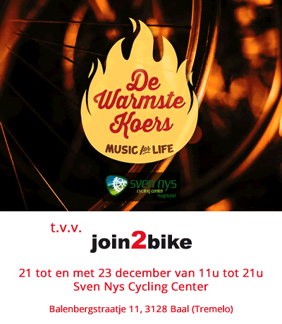 De Warmste Koers t.v.v. join2bike, 21 tot 23 december, van 11 tot 21 uur, Sven Nys Cycling Center